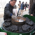 Almond flavoured steamed cakes at the Cherry blossom festival