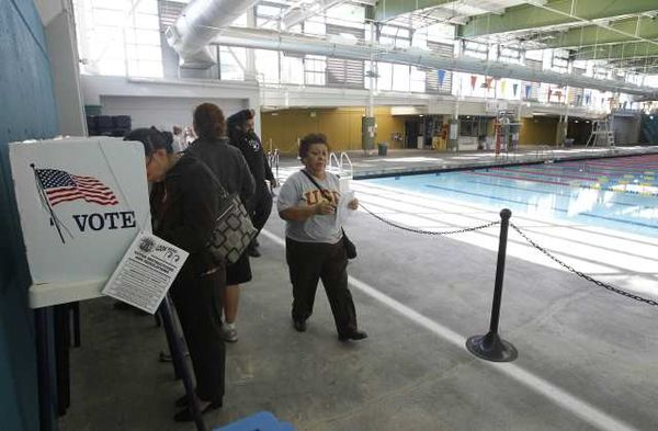 Pool & polling station (copyright LA Times)