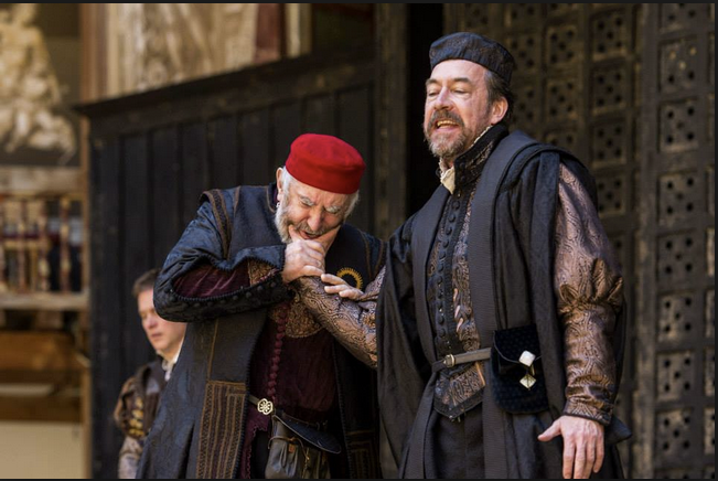 Pryce (left) with Dominic Mafham as Antonio Globe Theatre Photo: Manuel Harlan