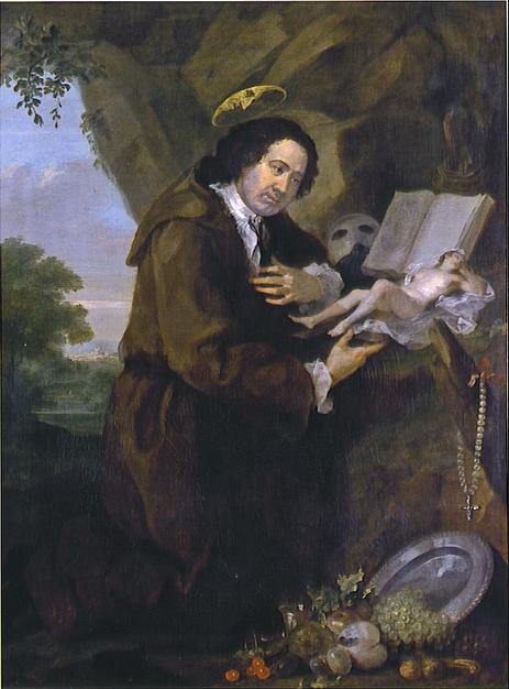 A Hellfire Club in joke: Francis Dashwood mocking St Francis of Assissi by William Hogarth